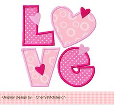 LOVE 2-Applique -4x4 5x7 6x10-Machine Embroidery Applique Design