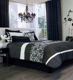 Edredón 2 Vistas Vintage para la cama junto con las cortinas y el decorativo para la pared negro y blanco