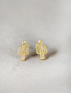 Tiny Gold Cactus Stud Earrings