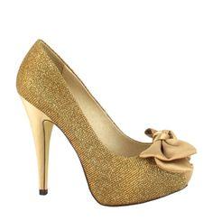 Zapato Peep Toe con Lazo en Dorado. Extremadamente elegante y sofisticado. Ref.5317  //Golden Peep Toe High heel with a bow. Extremely elegant and sophisticated. Ref.5317