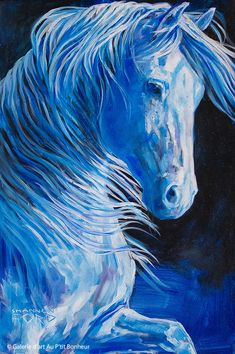 Painted Horses, Art Original, Original Paintings, Art Gallery, Lapis Lazuli, Ford, Blue Horse, Galerie D'art, Oeuvre D'art