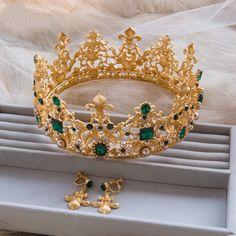 Luxury Vintage Gold Wedding Tiara Earrings Set Crystal Bridal Crown Party Prom Women Jewelry