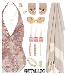 """""""You're Golden: Metallic Swimwear"""" by annbaker ❤ liked on Polyvore featuring Melissa Odabash, Christian Louboutin, EF Collection, Forever 21, Karen Walker, West Coast Jewelry, Sole Society and metallicswimwear"""