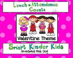 February Lunch and Attendance Count for SMARTboard from SmartKinderKids on TeachersNotebook.com -  (8 pages)  - Quick, easy, efficient and fun! Your kids will love doing Lunch and Attendance Counts with monthly themed boards and you will love the classroom management system!  February = HEARTS & LOVE