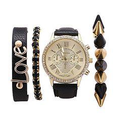 Bărbați+pentru+Doamne+Unisex+Ceas+La+Modă+Ceas+Brățară+Quartz+PU+Bandă+Boem+Elegant+Negru+Negru+–+USD+$+11.99