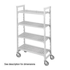 "Cambro Camshelving 21 Wide X 42 Length X 67 High Mobile Starter Unit by Cambro. $517.14. CAMSHELVING MOBILE STARTER UNIT, 21""""""""W X 42""""""""L X 67""""""""H, 4 SHELF, INCLUDES: 4 POSTS, 2 SETS POST CONNECTORS, TRAVERSES <(>&<)> 879193. Save 42%!"
