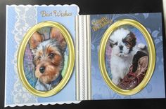2 Beautiful Gold Toppers  with Dogs  by Hazel Sumner