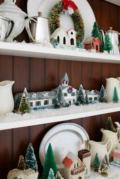Display my houses on shelves.  Paint inside of the bookcase light blue so my white dishes etc, will look good year round.
