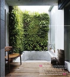 outdoor bath with a living green wall. peaceful and relaxing
