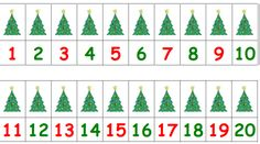 Number line with Christmas trees - for tabletop work