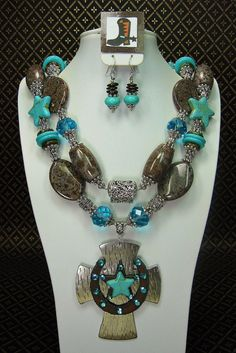 Turquoise / Brown Chunky Cowgirl Necklace by CayaCowgirlCreations, $58.50