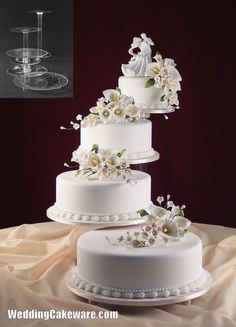 Fresh Tiered Wedding Cake Stands With Tier Cascade Wedding Cake Stand Stands Set 4 Tier Wedding Cake, Square Wedding Cakes, Wedding Cake Stands, White Wedding Cakes, Elegant Wedding Cakes, Beautiful Wedding Cakes, Wedding Cake Designs, Beautiful Cakes, Multiple Wedding Cakes