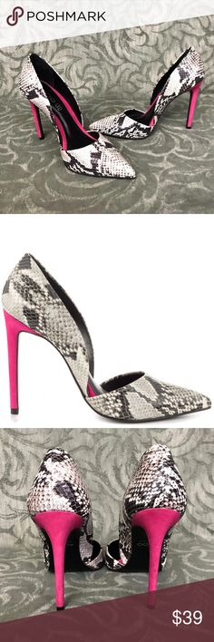 "Aldo Snake Print Leather Stiletto Pumps 4.3"" heels Gorgeous Aldo Snake Print Leather Pumps - Hot Pink Stiletto High Heel   Size 7.5 US / UK 5.5 / EU 38  Length: Interior Heel to toe: 9 1/4 inches Width at widest part of sole: 3 1/2 inches Heal Height: 4 3/8 inches  Beautiful condition!   A tiny bit of scuffing on the bottom of sole.  See Photo. Otherwise appear unworn.  Thanks so much for looking!  I'm happy to answer any questions you may have! Aldo Shoes Heels"
