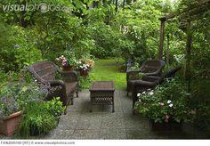 Backyard Patio | Backyard patio and lush garden [FAN2045100] > Stock Photos | Royalty ...