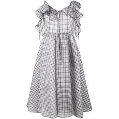Rosie Assoulin Detour ruffle check dress (46.872.720 IDR) ❤ liked on Polyvore featuring dresses, blue, blue ruffle dress, frilly dresses, checked dress, frill dress and blue checked dress