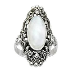 Chuvora .925 Sterling Silver 30 mm long Gorgeous Filigree Design w/ Genuine Marcasite and Natural Mother of Pearl Ring for Women Size 8 - Nickle Free Chuvora,http://www.amazon.com/dp/B009K24RV2/ref=cm_sw_r_pi_dp_NcDqsb17NSTVTTC2