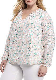 f59c2cce071 Kaari Blue™ Plus Size Tie Front Crochet Inset Top