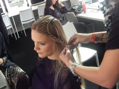 Beautifully plaited hair Backstage with @Cristina Sabaiduc at #LFW #SS14