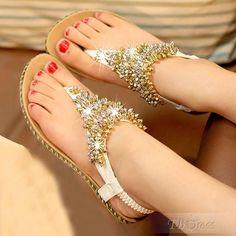 Apricot Fancy Shinning Rhinestone Flip-flop Flats#charming#fashion#shoes