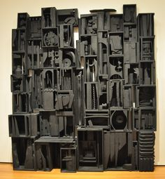 Louise Nevelson, Sky Cathedral - Painted black natural wood.