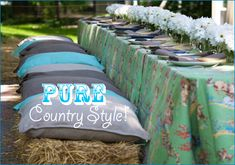 I love this summertime party I saw on { Hostess with the Mostess }! A cowboy theme, miniature pies for everyone, qu. Cowboy Baby Shower, Baby Boy Shower, Sweet 16 Parties, Grad Parties, Outdoor Wedding Seating, Outdoor Lounge, Rustic Wedding, Cowgirl Party, Cowboy Theme