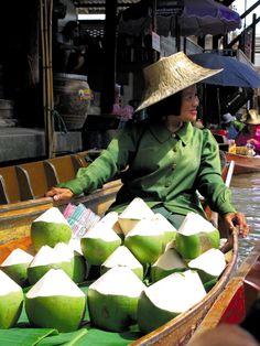 Fresh coconut water . Thailand
