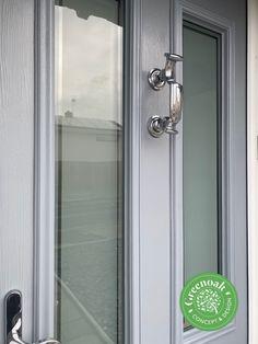 French Grey Ludlow Composite Door. Benfleet Essex Upvc Windows, Sash Windows, Windows And Doors, External Cladding, Window Glazing, Window Replacement, Composite Door, Exterior Trim, French Grey