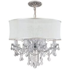 """Crystorama Lighting Group 4489-CH-SMW-CLQ Brentwood 12 Light 30"""" Wide Glass Drum"""