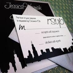 Modern Silhouette Skyline Wedding Invitation by PeacockPrinting