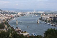 A classic view of Budapest, Hungary: Buda and Pest on either side of the Danube River.