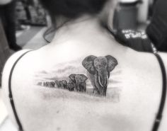 Awesome elephant landscape tattoo by Doctor Woo