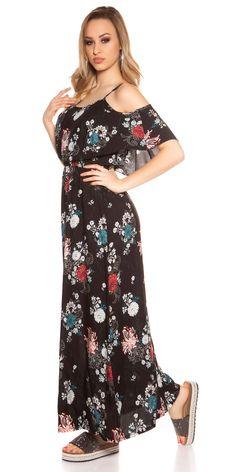 Letní květované maxišaty na ramínka, doplněno volánem.  Barva: černá  Materiál: 100% viskóza Cold Shoulder Dress, Dresses, Fashion, Vestidos, Moda, Fashion Styles, The Dress, Fasion, Dress