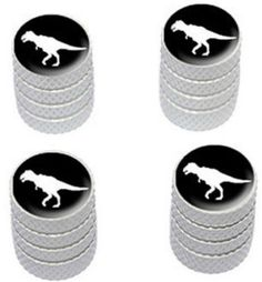 """Amazon.com : (4 Count) Cool and Custom """"Diamond Etching Tyrannosaurus Rex Dinosaur Top with Easy Grip Texture"""" Tire Wheel Rim Air Valve Stem Dust Cap Seal Made of Genuine Anodized Aluminum Metal {Brilliant Subaru White and Black Colors - Hard Metal Internal Threads for Easy Application - Rust Proof - Fits For Most Cars, Trucks, SUV, RV, ATV, UTV, Motorcycle, Bicycles} : Sports & Outdoors"""