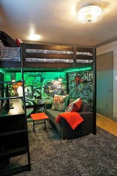 48 cool teenage room decor ideas for a hard-to-get .- 48 cool teens room decor ideas for a hard-to-please boy # ideas # heavy - Teenage Room Decor, Teenage Boy Rooms, Preteen Boys Room, Room Decor For Girls, Teenage Beds, Girl Decor, Teen Lounge, Cool Teen Rooms, Awesome Bedrooms