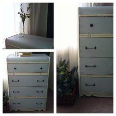 "Carolina blue waterfall dresser by ""Lee.Marie Antiqued Furniture"" on Facebook"