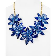 "kate spade new york Blooming Brilliant Statement Necklace, 22"" ($298) ❤ liked on Polyvore featuring jewelry, necklaces, blue, bib statement necklace, kate spade necklace, kate spade, statement necklaces and kate spade jewelry"