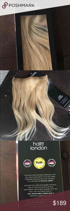 "✨ Authentic Halo Couture Hair Extensions ✨ Add immediate thickness, length, and volume with the best one-piece hair extensions on the market!  16"" Halo Hair Extensions in Bleach Blonde Swedish Blonde Mix. #20/60.  Never ever worn or even tried on!  Still tied to and attached to packaging insert.  These were shipped directly from Halo London.  It is 100% Indian Remy HUMAN Hair. For that reason, it can be treated as such and dyed or bleached to match your own hair color.  They can be washed…"