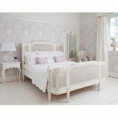 Provencal Lit Lit White Rattan Bed