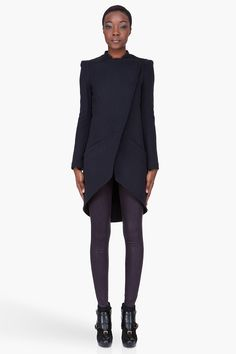 KAROLINA ZMARLAK Midnight Blue Asymmetrical Overcoat