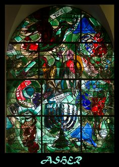 Stained glass windows by Marc Chagall, Jerusalem Stained Glass Church, Modern Stained Glass, Stained Glass Art, Stained Glass Windows, Mosaic Glass, Marc Chagall, Chagall Windows, Chagall Paintings, 12 Tribes Of Israel