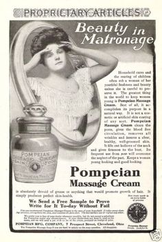 "Original 1906 Ad: Pompeian Massage Cream Skin Care Food ""Beauty in Matronage"""