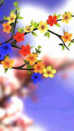 Flower Background Wallpaper, Flower Phone Wallpaper, Flower Backgrounds, Colorful Wallpaper, Tree Wallpaper, Spring Flowers Wallpaper, Purple Wallpaper, Background Images, Iphone Wallpaper