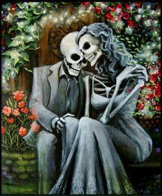 Romantic Day of the Dead Canvas Art Skeleton Couple Wedding Gift, Anniversary, Valentine's Day by Bones Nelson (affiliate) Skeleton Love, Skeleton Art, Badass Skulls, Totenkopf Tattoos, Frida Art, Day Of The Dead Art, Sugar Skull Art, Sugar Skulls, Art Asiatique
