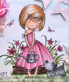 This is Flower Garden Friends , too cute for wo. Copic, Stamps, Coloring, Hair Color, Paper Crafts, Colour, My Favorite Things, Garden, Flowers