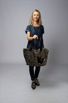 limited edition fun fake fur bag for cat lovers