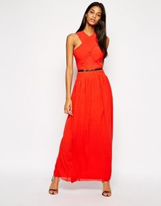 Little Mistress Belted Maxi Dress with Cross Front