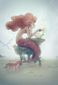 Tea time mermaid with spirals in her hair!