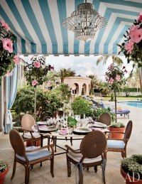 Palm Beach, Poolside Dining Area : Maria Buatta Designs Hilary and Wilbur Ross's Homes in the Hamptons and Palm Beach
