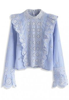 This top is picture perfect, babe, so get ready to take all the selfies. With ruffles, flowerets, stripes and a sharp yet subtle blue hue--this top is equal parts sophisticated and fun.   - Floral pattern with eyelet detail - Button down closure to reverse - Bell sleeves - Split cuffs - Not lined - 100% Cotton - Hand wash  Size(cm)Length Bust Shoulder Sleeves XS         48    92    35      59 S         48    96    37     60 M         49…
