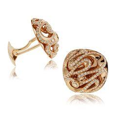 Rose Gold Swirl Cufflinks | SimpsonJewelers.com